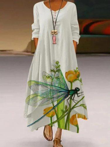 2021 White Long Dress Women Floral Print Vintage Elegant Dress Vestido Women Casual Dresses Party Pretend Two Plus Size 5XL