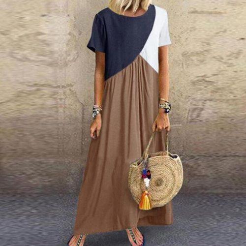 2021 Women Sundress Long Maxi Dresses Female Summer Casual Dress Short Sleeve Patchwork Color Loose Plus Size Vestidos