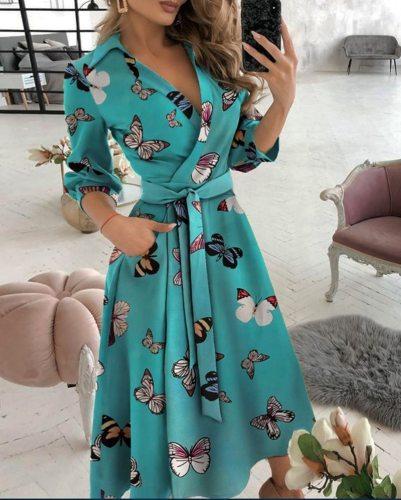 Sexy Deep V Neck Geometric Print Maxi Dress Women 2021 Spring Pocket Long Sleeve Female Irregular Party Dress Plus Size Vestidos
