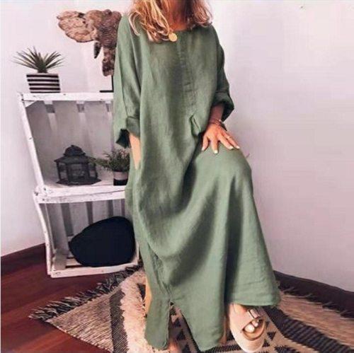 Cotton Linen Women Dress Loose Waist Solid Office Lady Dress O Neck Pocket Women Dress Ankle Length Dress Vestido Plus Size 5XL