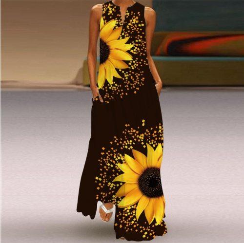 Vintage Printing Maxi Dresses Women 2021 Summer Fashion V-neck Sleeveless Long Dress Elegant Ladies Sundress Plus Size 5XL