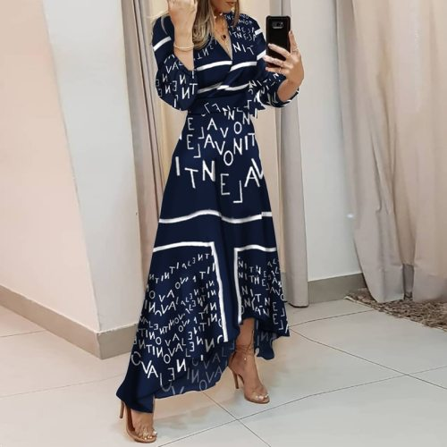 Elegant Irregular Maxi Dress Women 2021 Spring Long Sleeve V Neck Office Lady Letters Print Tie Waist Long Dress