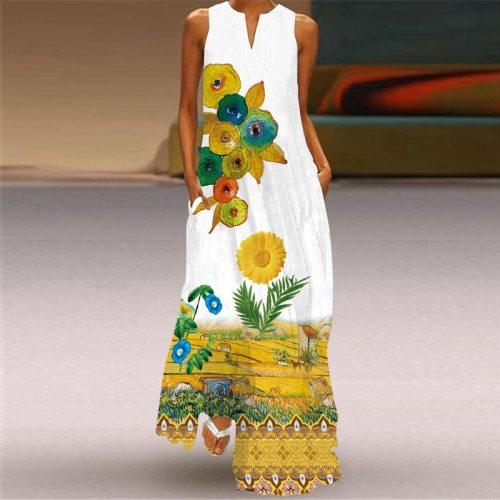 3D Flowers Printed Women Sundress 2021 Summer V-neck Sleeveless Dress Casual Ladies Long Dress Large Size 5XL Female Maxi Dress