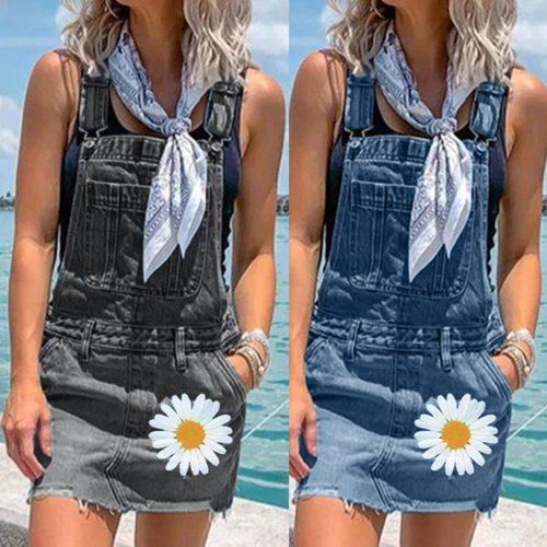 Denim Dress Summer Spaghetti Strap Sundress Vintage Casual Daisy Print Retro Chic Sexy Jeans Dress Blue Party Dress Women#J3