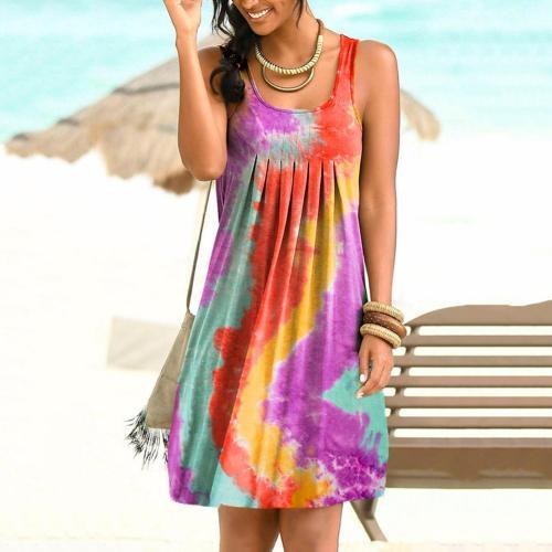 Women Casual Sleeveless Scoop Neck Tie Dye Pleated Large Hem Sundress Dress