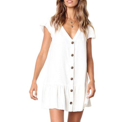 Women Summer Short Sleeves Cotton Linen Mini Swing Dress Button Down V-Neck Solid Color Ruffle Hem Casual Loose Beach Sundress