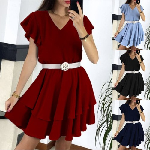 New Summer Solid Tunic Women's Dress 2021 Fashion Casual Sexy V Neck Ruffle Sleeve Belt Ruffle Empire Ladies Mini Dress