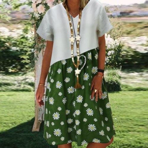 Vintage V-neck Striped Dots Print Party Dress Women Spring Summer Short Sleeve Dress Elegant Plus Size Patchwork Casual Dresses