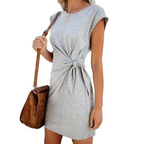 Women Summer Solid Casual Midi Dress Short Sleeve Loose O-Neck Twist Cross Belt Bow Short Vestidos Sexy High Waist Fashion Dress