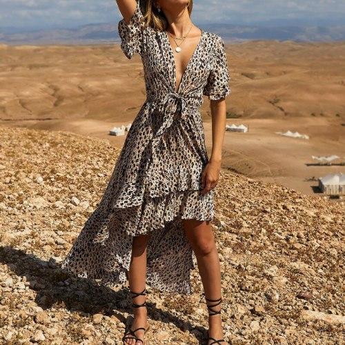 Summer Leopard Print Dress Women 2021 Spring Beach Long Dresses Sexy V Neck Bow Tie Irregular Dovetail Chiffon Dress Vestidos