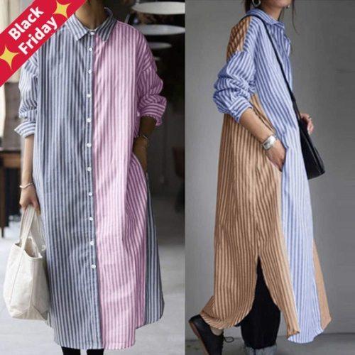 2021  Fashion Striped Shirt Dress Womens Patchwork Sundress Casual Long Sleeve Split Maxi Vestidos Female Button Robe 5XL