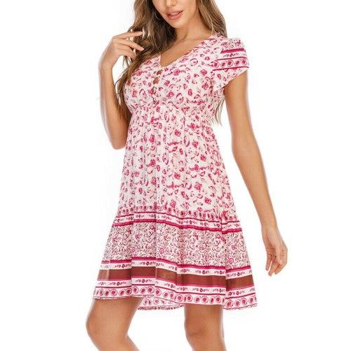 Boho Dresses Women Summer Print V Neck Button Short Sleeve Mini Dress Holiday Beach Party Casual Loose Women's Dresses