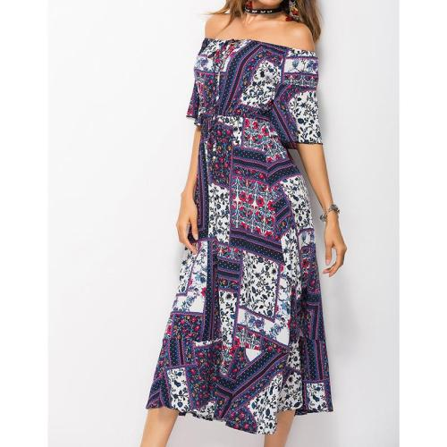 Summer Print Slash Neck Women Dresses  Casual Dress Sexy Off Shoulder Female Boho Floral Vestidos Plus Size WS8001C