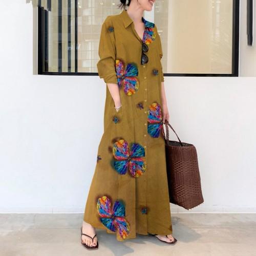 S-5XL Leisure Lapel Dress Women's Long Sleeve Print Loose Cardigan Dress 2021 Summer New Style And Elegance Large Size Vestidos
