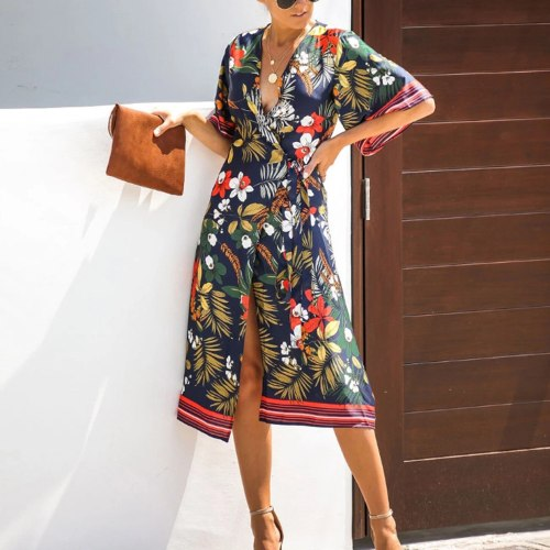 2021 Summer ladies dress stylish sexy retro temperament elegant shredded print V-neck mid-sleeve asymmetrical and knee dress