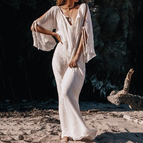 Sexy Women Loose Lace Up Three Quarter Sleeve Evening Sexy Party Maxi Dress Ladies Womens Brief Daily Dresses Clothing