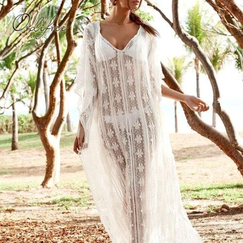 Ordifree 2021 Boho Summer Women Long Beach Dress Sexy Transparent Loose White Lace Maxi Dress