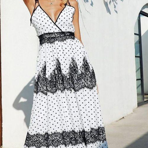 Strap Fashion Dot Print Lace Dress Sexy Deep V Neck Backless Women Summer Robe Beach Vacation Boho Casual Long Dress Vestidos