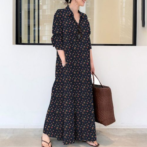 S-5XL Plus Size House Dress Women 2021 Fashion Floral Print Long Sleeve Casual Dress Pocets Loose Smocked Maxi Long Dresses