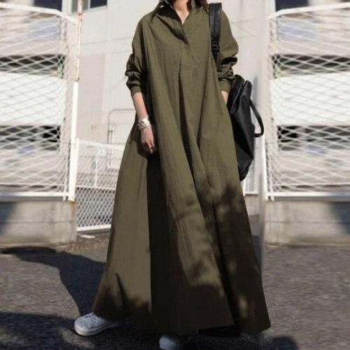 S-5XL Smocked Maxi Dress Women 2021 Fashion Long Sleeve Loose Sundress Kaftan Femme Plus Size House Dresses Vestido Robe