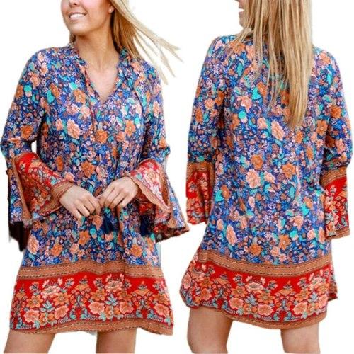 Spring Summer Dresses for Women Boho Print V Neck Flare Sleeve Casual Mini Dress Beach Vestido Feminino