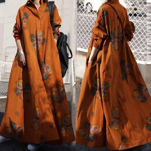 Vintage Printed Maxi Dress Women's Autumn Sundress ZANZEA 2021 Casual Long Sleeve Shirt Vestidos Female Lapel Robe Plus Size 5XL