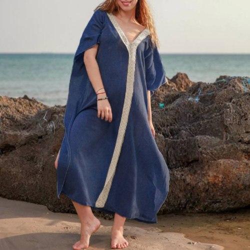 Lace Long Style One-Piece Woman Dress Deep V Side Slit Loose Solid Colors Women Dress Ladies Bohemian Beach Maxi Dress Summer