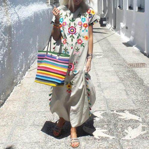 Vintage Summer Dress Women Tassel Short Sleeve Maxi Dress Woman V Neck Long Dresses for Women 2021 Floral Print Sundress Female