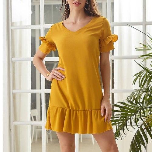Ruffle Summer Dress 2021 Beach Sexy Mini Short Sleeve Loose Dress Casual Solid Yellow Plus Size Party Mini Dress Women#J30