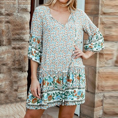 Women Summer Dress Boho Style Floral Print Beach Dress 3/4 Sleeve Tunic Sundress Loose Mini Party Dress Vestidos