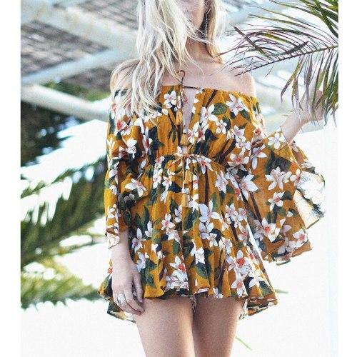 Elegant Women Off Shoulder Floral Dress Female Ruffle Yellow Long Sleeve Dress Ladies Boho Party Dress for Summer Vestidos