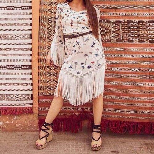 2021 Women Summer Bohemian Sexy Party Night Dresses Casual Elegant Tassel Midi Dress Plus Size