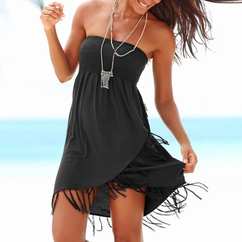 Strapless Sexy Dress Women 2020 Boho Off The Shoulder Tassel Dress Balck Asymmetrical Summer Beach Dresses Vestidos