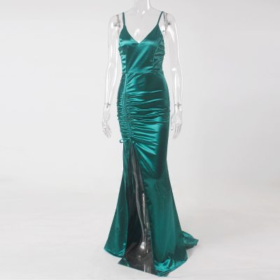Green Satin Drawstring Split Leg V neck Backless Sleeveless Long Evening Party Dress Gown Prom Summer