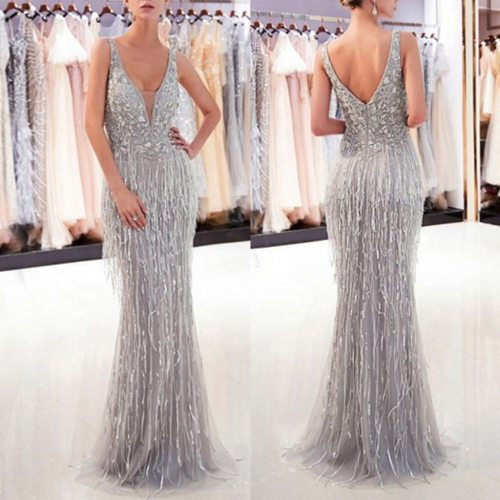 Dress Summer платье Fashion Women Formal Prom Party Ball Gown Sexy V-Neck Sleeveless Backless Slim Solid Tassle Long Dresses