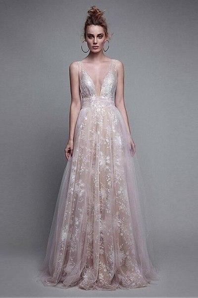 Stunning v neck appliqued backless formal evening party prom dress