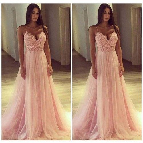 Pink Chiffon 2021  Summer Evening Party Slashes Beach Dress Womens Boho Sleeveless Maxi Dress Party Dresses Dropshipping