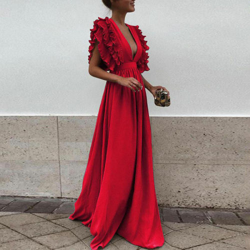 Formal Party  Dress Women Deep V-Neck Long Dress Elegant Evening Dresse