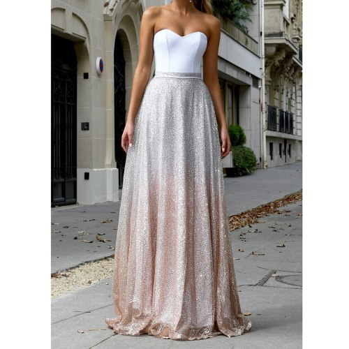 Party Dress Women Sexy Sleeveless Spaghetti Strap Strapless Sequins Patchwork Long Dresses Elegant Party Ladies Dress Robe Ete