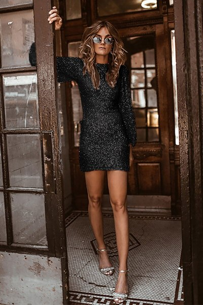 White Sequins Short Mini Cocktail Dresses Long Sleeves Sexy Lady Gown YSAN575