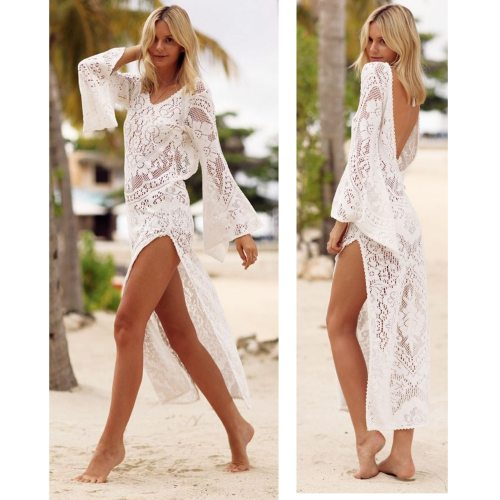 2021 New Style Lace Pretty WOMENS LACE CROCHET BIKINI BEACHWEAR COVER UP BEACH DRESS SUMMER BATHING SUIT Beige Cove up