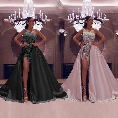 CloverBridal Sparkle Sequined One Shoulder Evening Dresses With Satin A-line Outer Skirt High Slit Wedding Party Dress WE9591