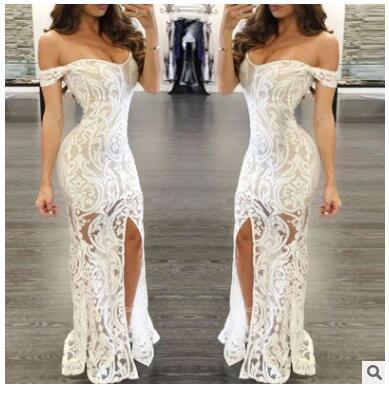 Women White Lace Patchwork Long Summer Evening Party Dress Dresses Vestidos For Female Women Off Shoulder Sexy Party Dress Women