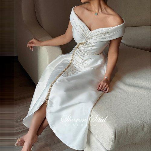 Arabic White Short Dubai Evening Dress 2021 Elegant Off Shoulder Tea Lenggth Midi Formal Party Dresses for Women Wedding Guest