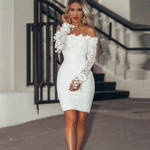 Women's Elegant Sexy Lace Off Shoulder Floral Dress Special Occasion Bodycon Slim Dress Lady Casual Party Short Mini Dress