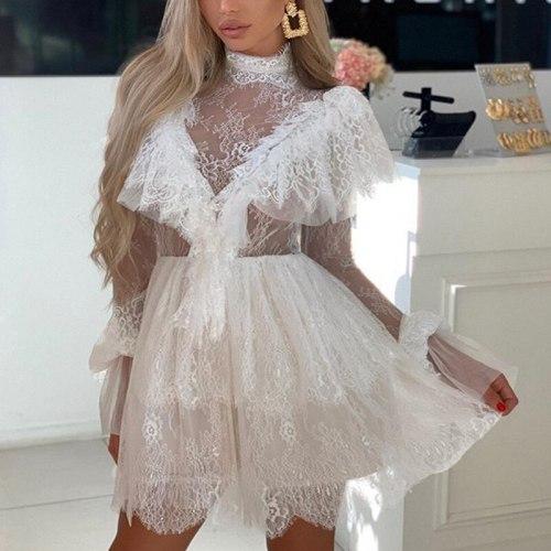 Sexy Dress Nymph Dress Zipper Long Sleeve Vestidos Transparent Short Mini Elegant Party Club Summer Lace Ruffle Mesh Women White