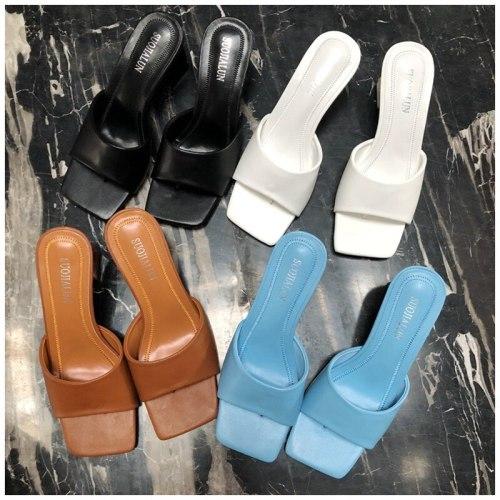 KAMUCC 2021 New Brand Women Slipper Summer Outdoor Sandal Square High Heel Slip On Flip Flop Elegant Women Slides Sandal
