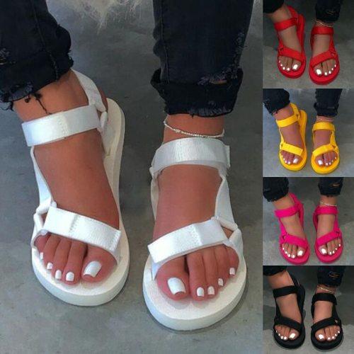 2021 New Women Summer Soft Slip Sandals Woman Buckle Strap Foam Sole Durable Sandals Ladies Outdoor Casual Beach Shoes