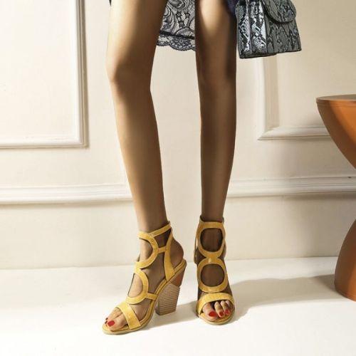 New 2021 Ladies Sandals Peep-Toe 10cm High Spike Heels Designer Buckle Comfortable Non-Slip Stylish Size 48 B2164