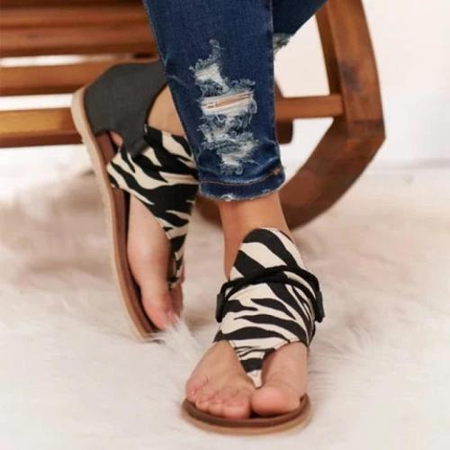Women Sandals Flat Shoes Summer Leopard Print 2021 New Fashion Women Shoes Large Size Zipper Cover Heel Flat Female Sandals